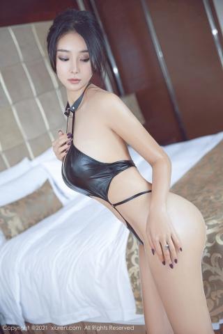Black leather swimsuit micro bikini beautiful swimsuit011