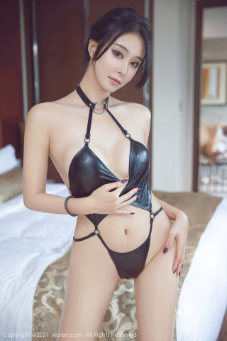 Black leather swimsuit micro bikini beautiful swimsuit014