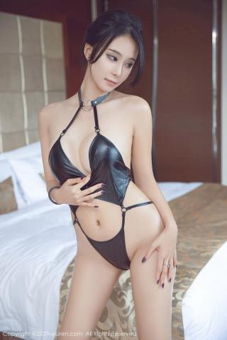 Black leather swimsuit micro bikini beautiful swimsuit013
