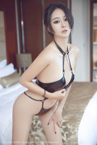 Black leather swimsuit micro bikini beautiful swimsuit015