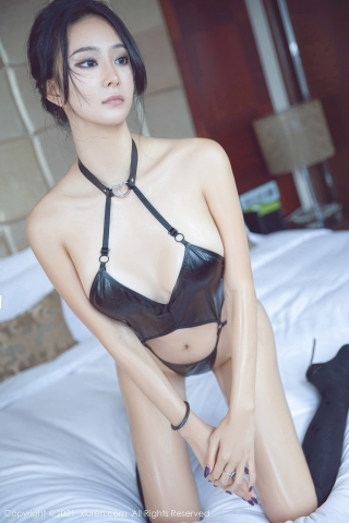 Black leather swimsuit micro bikini beautiful swimsuit026