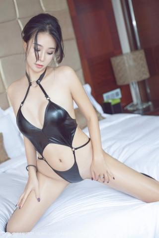 Black leather swimsuit micro bikini beautiful swimsuit034