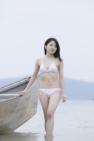 Chisaki Morito White Swimsuit Bikini Guest House Ship017
