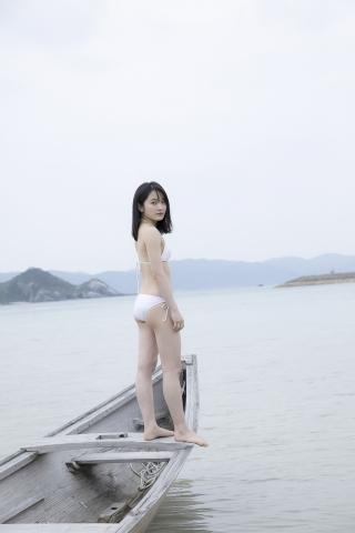 Chisaki Morito White Swimsuit Bikini Guest House Ship016