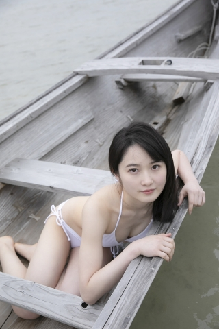 Chisaki Morito White Swimsuit Bikini Guest House Ship014