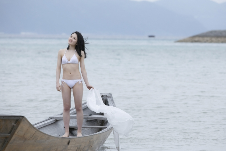 Chisaki Morito White Swimsuit Bikini Guest House Ship018