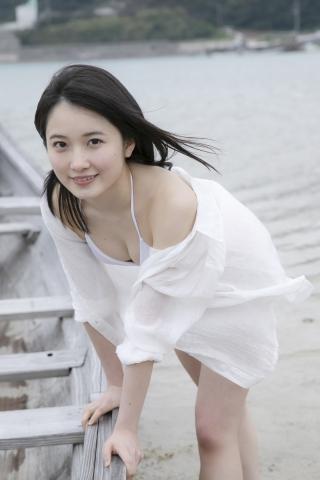 Chisaki Morito White Swimsuit Bikini Girl Waiting for Boat Morning Musume016
