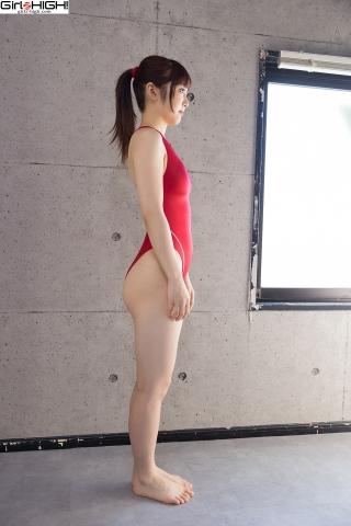 Ai Takanashi Red Swimming Race Swimsuit Images007