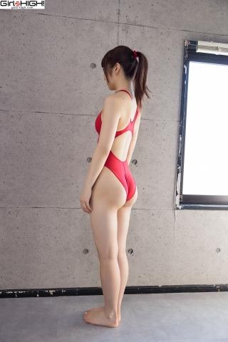 Ai Takanashi Red Swimming Race Swimsuit Images004