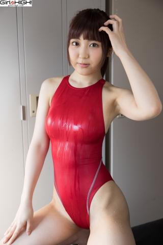 Ai Takanashi Red Swimming Race Swimsuit Images017