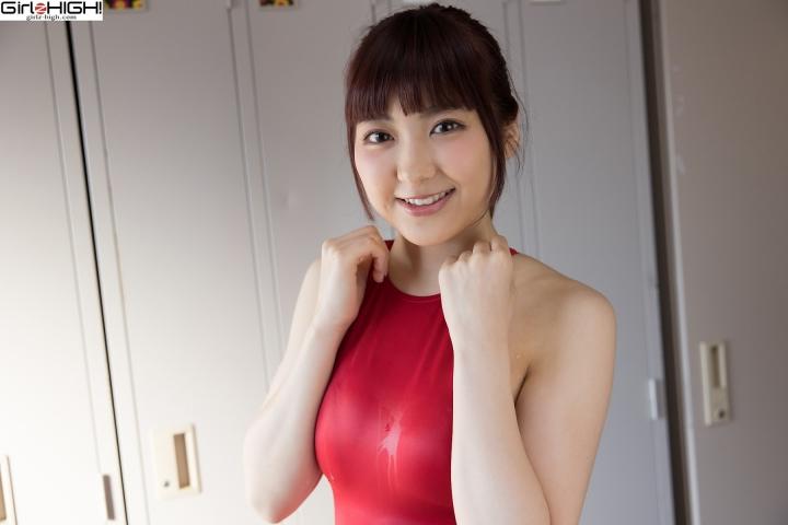 Ai Takanashi Red Swimming Race Swimsuit Images015