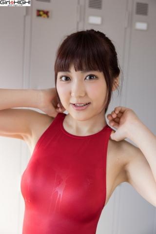 Ai Takanashi Red Swimming Race Swimsuit Images014