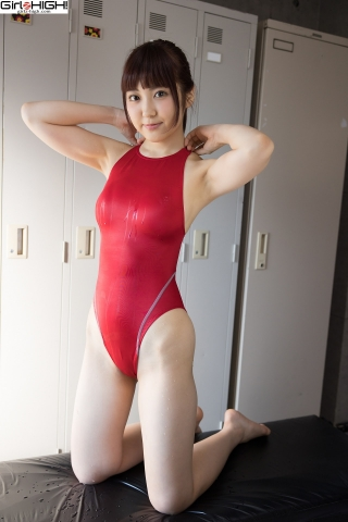 Ai Takanashi Red Swimming Race Swimsuit Images011