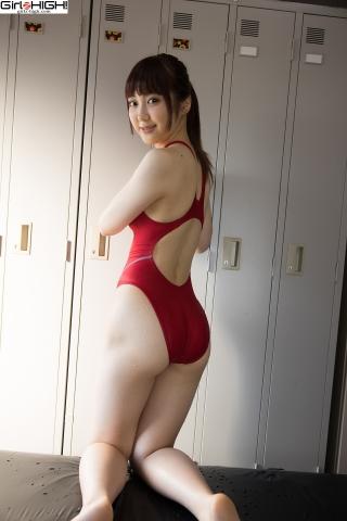 Ai Takanashi Red Swimming Race Swimsuit Images020