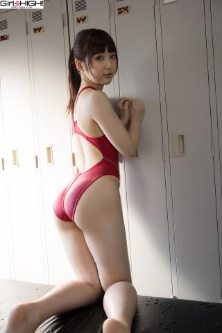 Ai Takanashi Red Swimming Race Swimsuit Images022