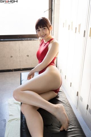 Ai Takanashi Red Swimming Race Swimsuit Images030