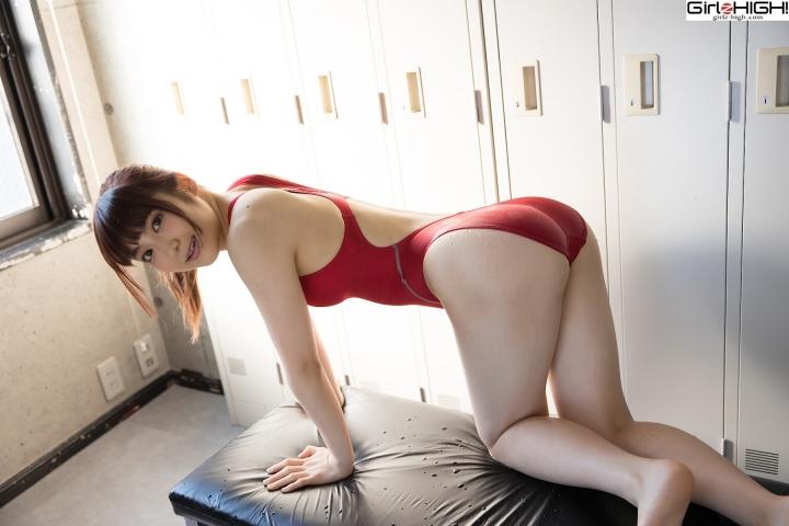 Ai Takanashi Red Swimming Race Swimsuit Images026