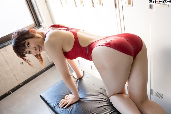 Ai Takanashi Red Swimming Race Swimsuit Images027