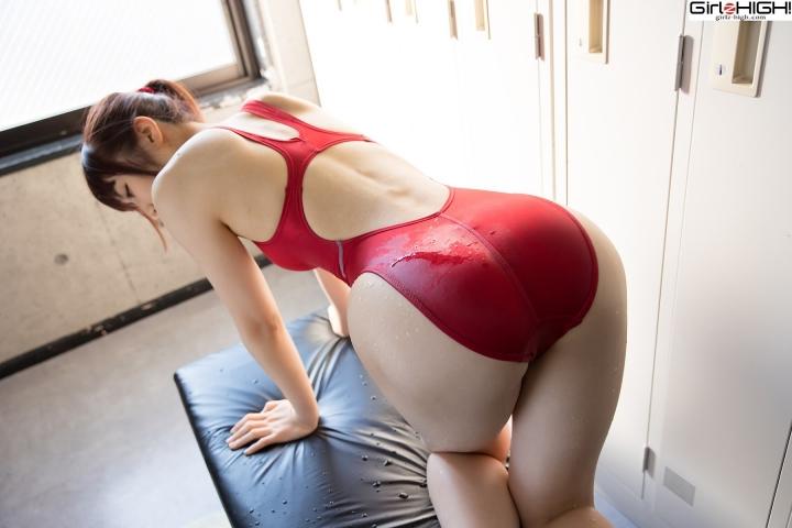 Ai Takanashi Red Swimming Race Swimsuit Images028