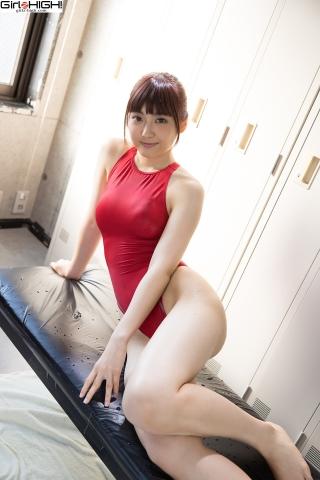 Ai Takanashi Red Swimming Race Swimsuit Images036