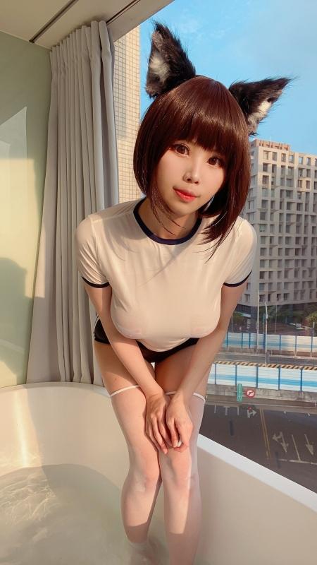 KaYa Huang 萱 耳(けもみみ)+おっぱい+体操服ブルマ 着エロコスプレ 27