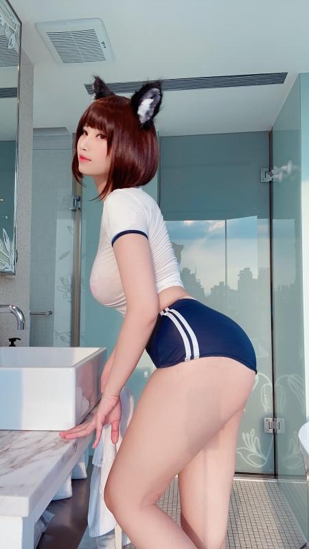 KaYa Huang 萱 耳(けもみみ)+おっぱい+体操服ブルマ 着エロコスプレ 34