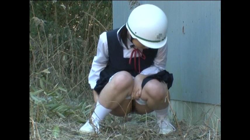 野ションしてるジャンパースカートの女子