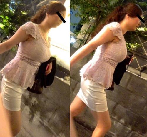 街中で見かけたおっぱいがエロくてこっそり撮影した着衣おっぱい画像