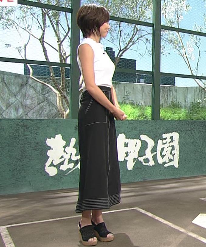 ヒロド歩美アナ ピチピチノースリーブニットの横乳キャプ・エロ画像