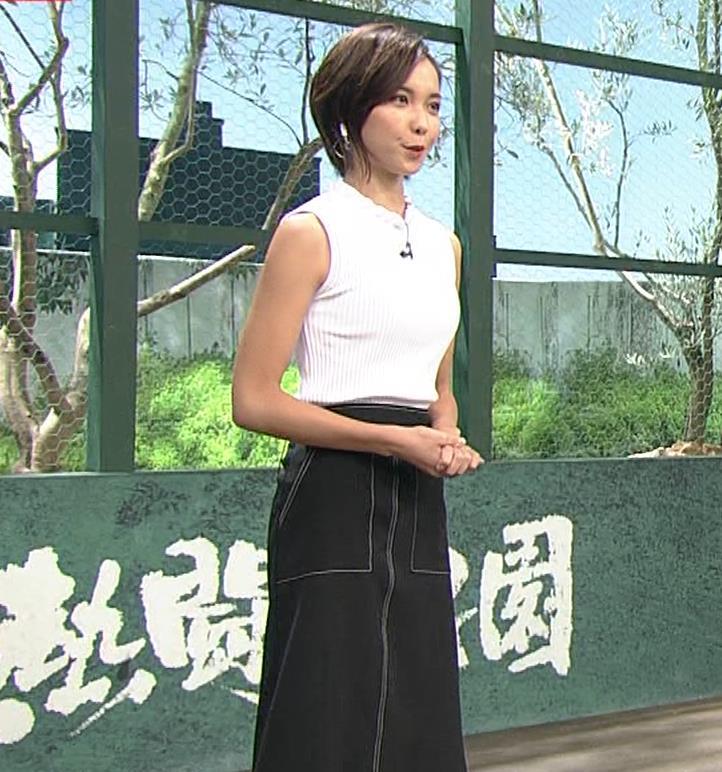 ヒロド歩美アナ ピチピチノースリーブニットの横乳キャプ・エロ画像4