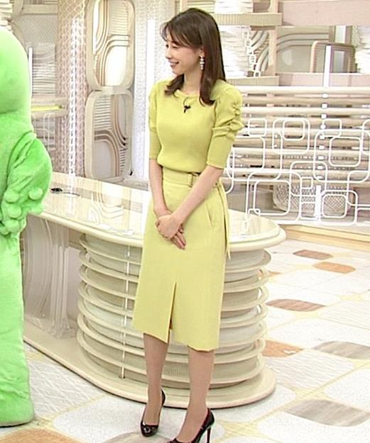 加藤綾子 スタイルがいい黄緑のワンピース姿キャプ・エロ画像7