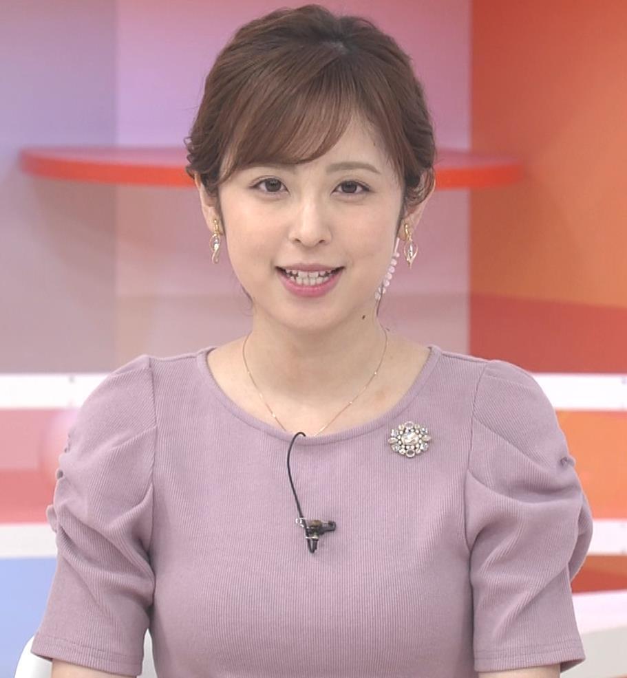 久慈暁子アナ かわいいお辞儀動画(ニットおっぱい)キャプ・エロ画像3