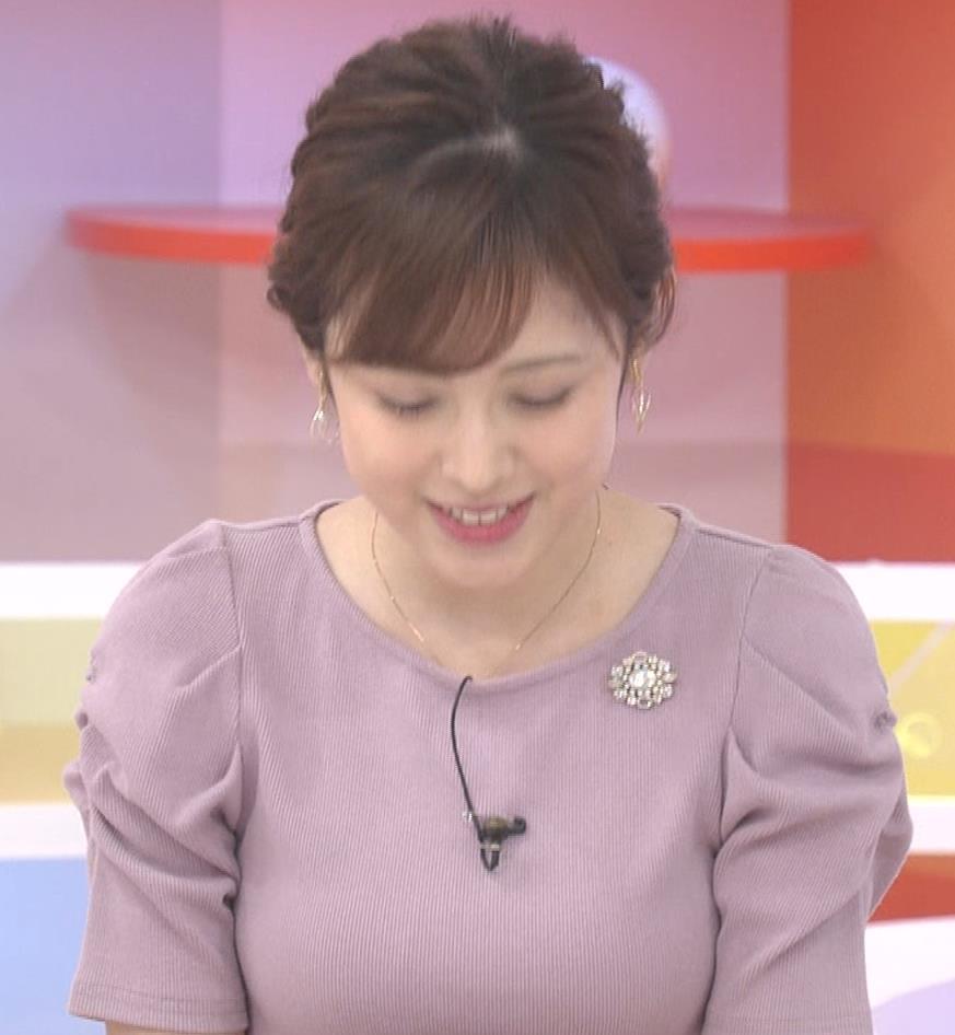 久慈暁子アナ かわいいお辞儀動画(ニットおっぱい)キャプ・エロ画像5