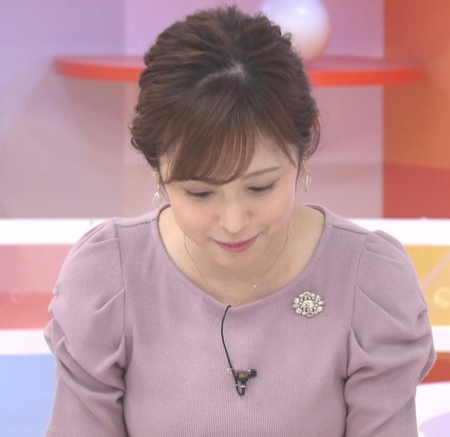 久慈暁子アナ かわいいお辞儀動画(ニットおっぱい)キャプ・エロ画像6