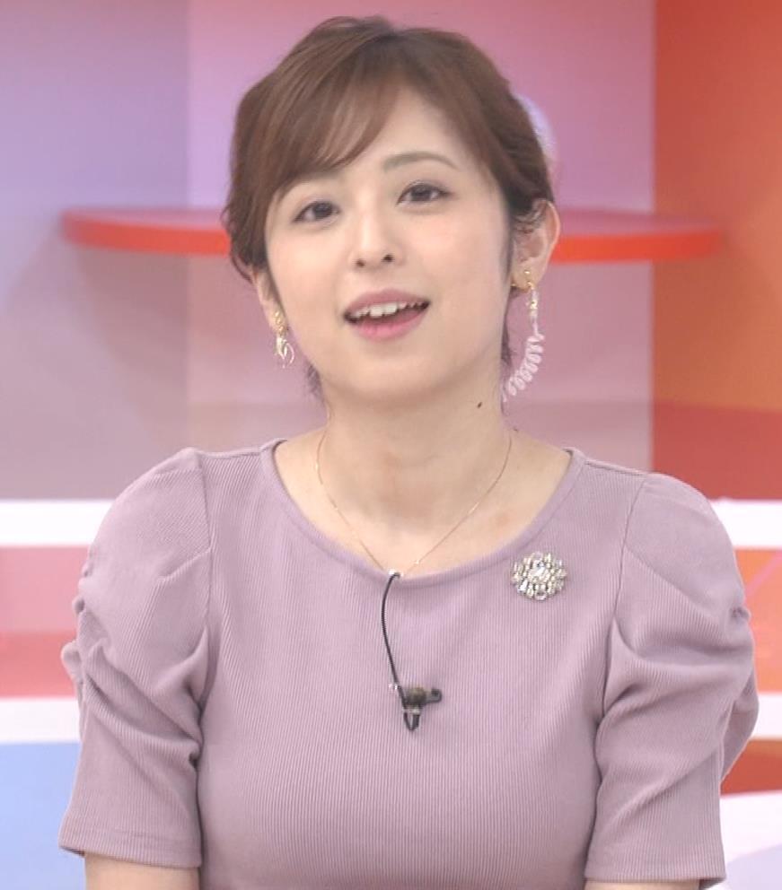 久慈暁子アナ かわいいお辞儀動画(ニットおっぱい)キャプ・エロ画像7