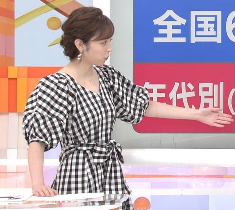 アナ よく見るとエロい胸のラインがでるチェック柄のワンピースキャプ・エロ画像7