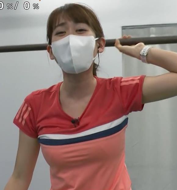 中川安奈アナ 巨乳なのにピチピチなTシャツを着てくれるキャプ・エロ画像3