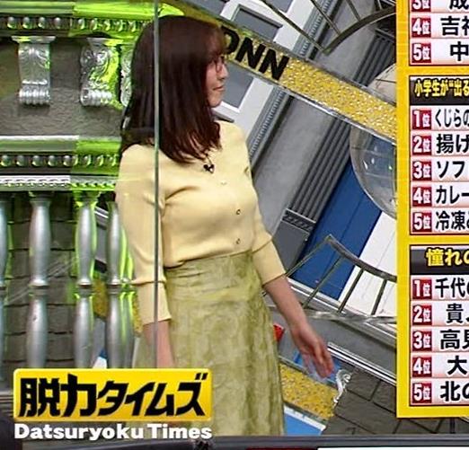 小澤陽子アナ 緩い服でも巨乳が目立ってしまうキャプ・エロ画像6
