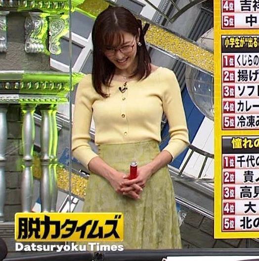 小澤陽子アナ 緩い服でも巨乳が目立ってしまうキャプ・エロ画像7