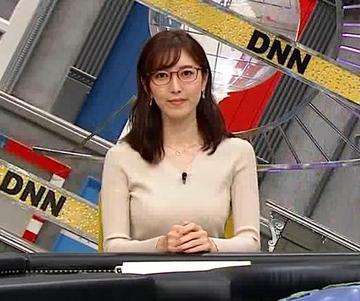 小澤陽子アナ 巨乳ニットの横乳が凄いことに…キャプ・エロ画像