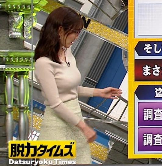 小澤陽子アナ 巨乳ニットの横乳が凄いことに…キャプ・エロ画像5