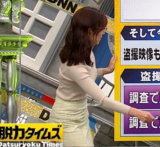 小澤陽子アナ 巨乳ニットの横乳が凄いことに…キャプ・エロ画像6