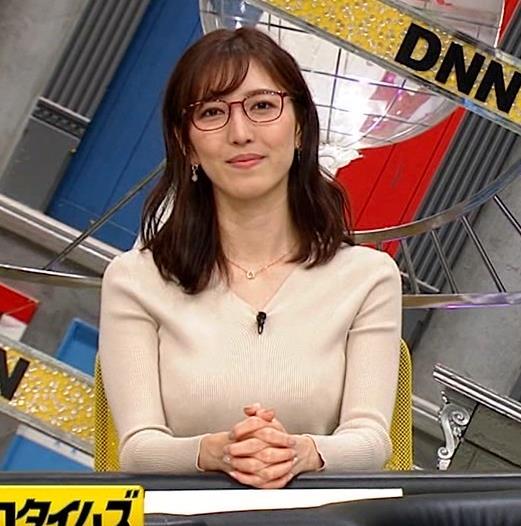 小澤陽子アナ 巨乳ニットの横乳が凄いことに…キャプ・エロ画像7