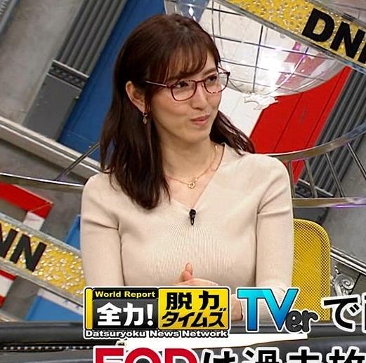 小澤陽子アナ 巨乳ニットの横乳が凄いことに…キャプ・エロ画像9
