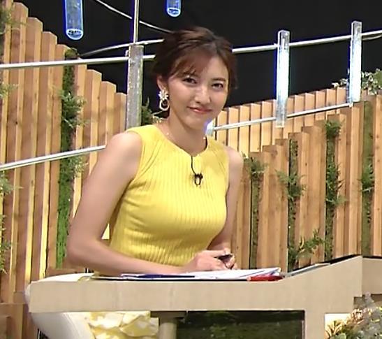 小澤陽子アナ 美人で巨乳がエロいノースリーブニットを着てくれるキャプ・エロ画像2