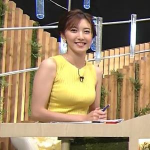 小澤陽子アナ 美人で巨乳がエロいノースリーブニットを着てくれる