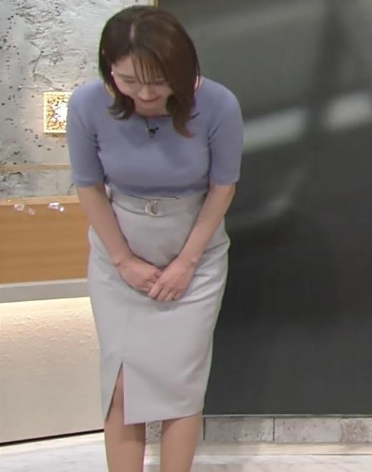 竹崎由佳アナ お辞儀のニットおっぱい♡がエロいキャプ・エロ画像4