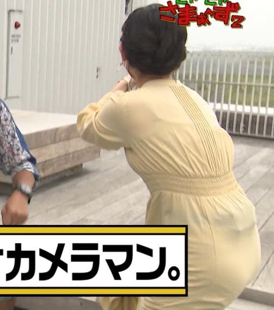 田中瞳アナ ワンピースの横乳キャプ・エロ画像