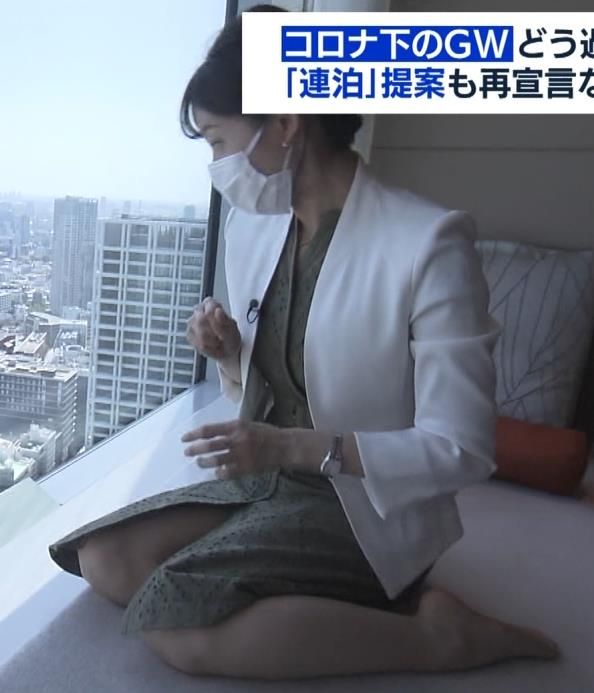 田中瞳アナ スカートから太もも露出!キャプ・エロ画像2