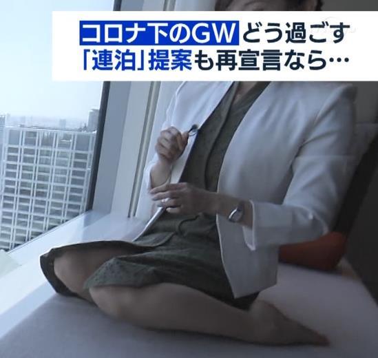 田中瞳アナ スカートから太もも露出!キャプ・エロ画像3